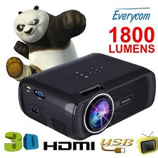 100% Original Everycom X7 LED Projector 1800 Lumens HDMI USB VGA TV Home Theater