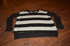 C4- Forever 21 Long Sleeve Beige & Brown Striped Sweater Size S