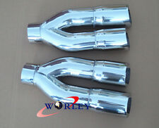 "Double round exhaust Tip slanted angle cut 3.5"" inlet 18"" long Stainless steel"