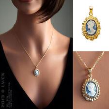 Pendentif Camé bleu Plaque Or NEUF -2809240