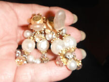 earrings  massive runway signed lawrence larry vrba clips pearl chandelier