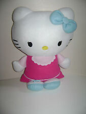 "HELLO KITTY SANRIO 21"" PLUSH PILLOW STUFFED PINK DRESS OUTFIT BLUE BOW CUTE RARE"