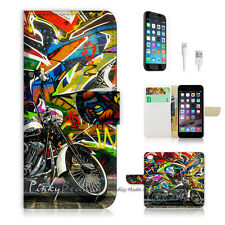 """iPhone 6 Plus (5.5"""") Print Flip Wallet Case Cover! Graffiti And Motocycle P0340"""