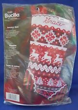2006 Plaid Bucilla Felt Stocking Kit 85325 Sweater Knit Reindeer Christmas Trees