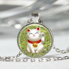 1 pcs Green Lucky Cat Glass Cabochon Tibet silver pendant chain necklace