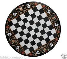 "30""x30"" Marble Coffee Chess Center Table Top Marquetry Mosaic Inlay Garden Decor"