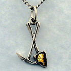 Pick & Shovel Necklace, Gold Flakes, dredge sluice pan