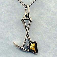 Pick & Shovel Necklace, Gold Flakes, dredge sluice pan