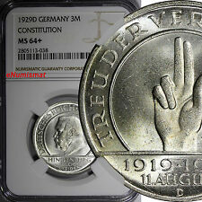 Germany,Weimar Republic Silver 1929 D 3 Reichsmark NGC MS64+ Constitution KM# 63