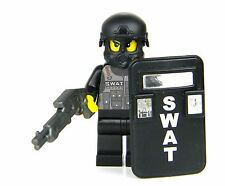 custom LEGO(R) Police SWAT Officer minifigure with Riot Shield