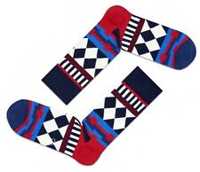 CLEARANCE SALE! Happy Mens Pair DT01-045 Disco Tribe Socks Blue Red UK 7½-11½