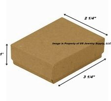 Wholesale 500 Kraft Cotton Fill Jewelry Packaging Gift Boxes 3 1/4 x 2 1/4 x 1
