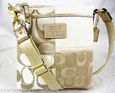 NWT Coach Signature Khaki White Gold Patchwork Crossbody/Swingpack 47710