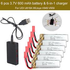 6pcs 3.7V 600mAh Battery+JST 6in1 Charger For UDI U818A U817A U817C WLTOYS V959