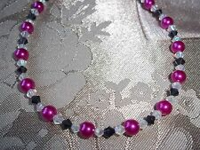 Handmade 10.5 inch PINK Pearl and BLACK & CLEAR Crystal Beaded ANKLET L-23
