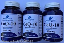 3 X CoQ-10 400mg Coq10 Coenzyme Heart Health Advanced Nutrition 600 Capsules