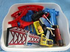 Thomas the Tank Engine blue plastic track, parts, trains, crane, toy railroad