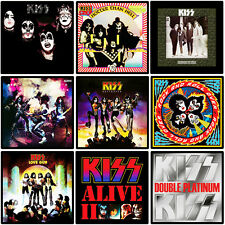 KISS 9 pack of album cover discography magnets - (ac/dc, metallica, iron maiden)