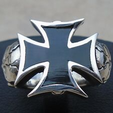 .925 Sterling Silver Black Enamel Maltese Cross Gothic Skull Ring Size 9 Solid N