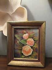 SMALL SHABBY CHIC VINTAGE PINK ROSE OIL PAINTING IN GOLD FRAME Romantic Cottage