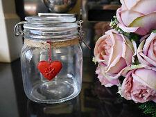 Shabby Chic Cuore rosso coperchio flip Top sigillati ERMETICI IN VETRO Storage Jar CUCINA