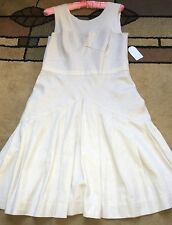 Jessica Simpson Flare Dress, Size 8 - 10, Taupe, Tan, Off-White, Linen/Cotton