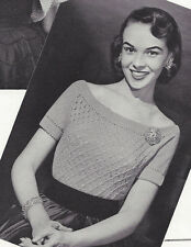 Vintage Knitting PATTERN to make Knitted Lace Evening Sweater Lacy Scoop Neck