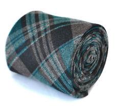 Frederick Thomas skinny mens wool tweed tie in turquoise & grey check FT2083
