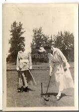Lovely Young Edwardian Fashion Women Holding Mallets Playing Croquet 1910s Photo