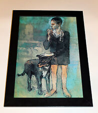 "Pablo Picasso ""Boy with Dog"" 1905 giclee 8.3X11.7 canvas print, framed"