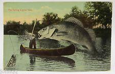 """Vintage Humor Postcard - """"The Fishing is great here."""" - Huge Fish, Man on Kayak"""