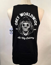 Obey Men's Tank Top All City Delivery Black Size M NWT Shepard Fairey Skull