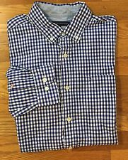Tommy Hifiger Button Down Classic Fit Flag Shirt Blue Checks Pocket Men's Size M