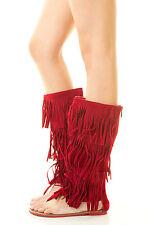 Fashion Gladiator Fringe Tassel Zipper Sandal Boot Thong Open Toe Mid Calf Ankle
