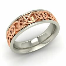 Men's Wedding Ring / Band with Celtic Design In Two Tone Solid 10k White Gold