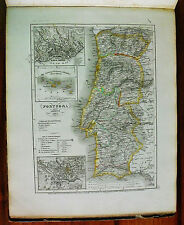 1849 MEYER'S ZEITUNGS-ATLAS=GEOGRAPHICAL MAP:Portugal et Azores/Portogallo/Azorr