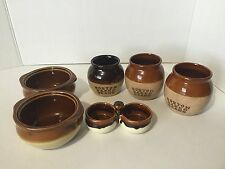 """Set of 6 pieces of vintage brown stoneware bean pots 3"""" tall average"""