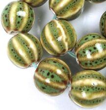 15 Green Beige Black Raku Porcelain Melon Corrugated Round Beads 12x11mm