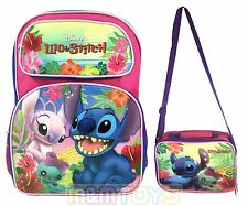 "New Disney Lilo And Stitch Backpack 16"" Large School Backpack Lunch Bag Set"