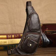 Mens Sling Chest Bag Vintage Leather Travel Riding Sport Messenger Shoulder Pack