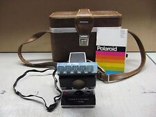 VINTAGE BLACK & SILVER POLAROID SONAR ONE STEP SX-70 LAND CAMERA & CASE