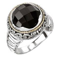 NEW LADIES 18K YELLOW GOLD & STERLING SILVER .925 BLACK ONYX RING BAND