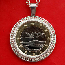 2002 Finland One Euro BU Unc Coin Sterling Silver Necklace NEW - Flying Swans