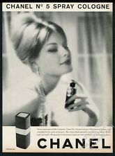 1960 Chanel No.5 spray cologne smiling woman photo vintage print ad