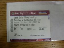 12/03/2005 Ticket: Burnley v Rotherham United [Complete Ticket, Media] . Any fau