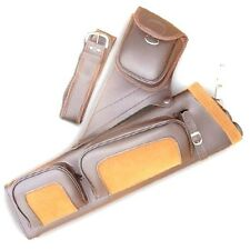 ARCHERY FOUR TUBE SYNTHETIC LEATHER SIDE/HIP/ BELT ARROW QUIVER SAQ122 BROWN R/H