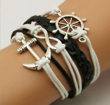 NEW Hot Infinity Love Anchor Leather Cute Charm Bracelet plated Silver SL93A