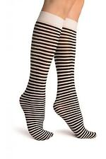 Black and White Thin Stripes Socks Knee High (SO002724)