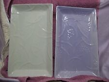 Lot of 2 Crabtree & Evelyn Pastel Green Lavender Rectangular Snack Plates Floral