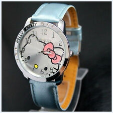 New Big Face Lovely Hello Kitty Girls Ladies Wrist Watch Quartz Fashion Blue 169